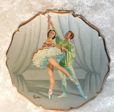 1950 Rare Stratton Powder Compact with Ballet Scene signed Baron.