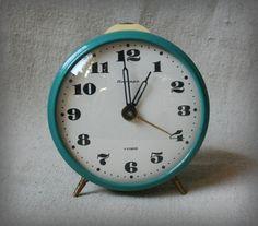 Vintage Soviet Alarm Clock Yantar  Working Desk Table by VintageUA