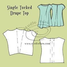 Use any simple pattern shape to make this #PatternPuzzle - Tucked Drape Tops http://www.studiofaro.com/well-suited/pattern-puzzle-tucked-drape-tops?utm_content=buffer720cc&utm_medium=social&utm_source=pinterest.com&utm_campaign=buffer #TuckedDrape