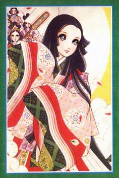 Shoujo style manga art. A woman dressed in junihitoe