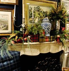 Stunning Christmas mantel with tartan accents.