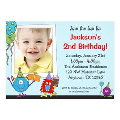 Fun Monsters Photo Birthday Party Invitations.  $1.95
