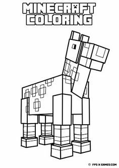 Printable Minecraft coloring - Horse.  Create your own Minecraft fan art.  #minecraft #coloring