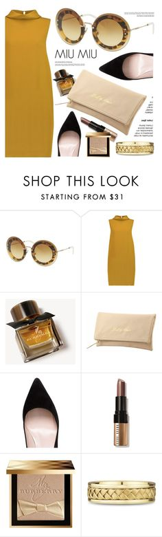 """Yellow Gold"" by smartbuyglasses-uk ❤ liked on Polyvore featuring Miu Miu, Joseph, Burberry, Kate Spade, Bobbi Brown Cosmetics, gold and yellow"