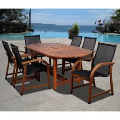 This weather resistant wood dining set is a great outdoor accessory, ideal for garden parties or gatherings. This beautiful seven-piece oval dining set oozes sophistication and also features UV protection for long lasting durability.