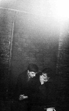 Ian Curtis and Bernard Sumner from Joy Division, TJ Davidson's Rehearsal Room, Manchester, circa 1980, by Anton Corbijn