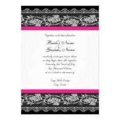 Hot pink & black wedding | Black & Hot Pink Lace Wedding Invitation » Wedding Invitations