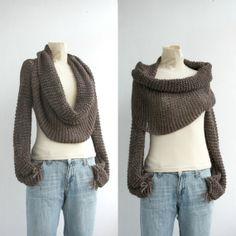 $79.00 FREE Shipping New Season  Brown  Wrap Bolero Scarf Shawl Neckwarmer gift for Women Girl Mom Christmas Gift