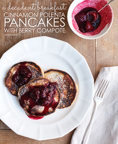 Perfect for lazy weekend mornings, these cinnamon pancakes with sweet berry compote are sure to be a hit. #pancakes #breakfast