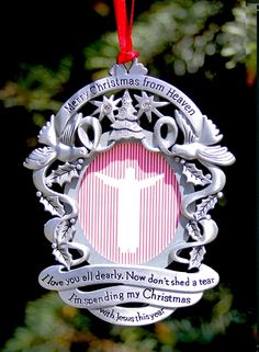 personalized merry christmas from heaven pewter photo ornament - Merry Christmas From Heaven Ornament