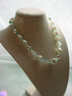 Vintage Faux Pearl Strand Necklace Iridescent and Blue Glass Beads 14 to 16 inch #Unbranded #VintageNecklace