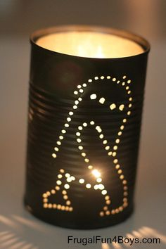 How to Make Star Wars Tin Can Lanterns - Frugal Fun For Boys (instead make camping/woodland symbols for boys camping theme)