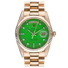 ROLEX Diamond Green Lacquer Stella Dial Rose Gold Day-Date
