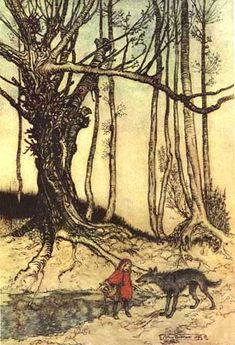 Arthur Rackham illustration of a scene from Little Red Riding Hood  (www.surlalunefairytales.com)