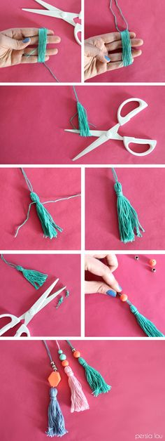 a Thing Bag - Simple Tote with Tassels How to make beaded tassels - add to a bag!How to make beaded tassels - add to a bag!Find a Thing Bag - Simple Tote with Tassels How to make beaded tassels - add to a bag!How to make beaded tassels - add to a bag! Fun Crafts, Diy And Crafts, Crafts For Kids, Arts And Crafts, Kids Diy, Crafts With Wool, Handmade Crafts, Handmade Beads, Decor Crafts