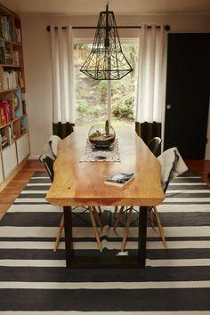 West elm stripe rug under dining table