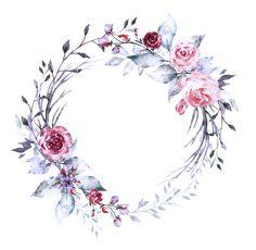 Wreath Watercolor, Watercolor Flowers, Flower Wallpaper, Wallpaper Backgrounds, Boarder Designs, Florist Logo, Scrapbook Background, Wreath Drawing, Floral Drawing