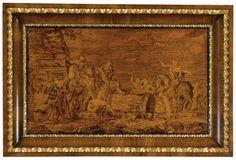 Pannello intarsiato in legni vari raffigurante Attilio Regolo Giovanni Maffezzoli, Cremona, 1806 A VARIOUS WOODS INLAID PANEL, GIOVANNI MAFFEZZOLI, 1806, WITHIN AN ADDED FRAME, AN CRACK.