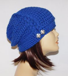 "Slouch, beanie, cap, hat, hand crochet in the color Royal Blue with buttons and braid, unisex fits teens and adults 20""-23"" by Jeniebugs on Etsy"