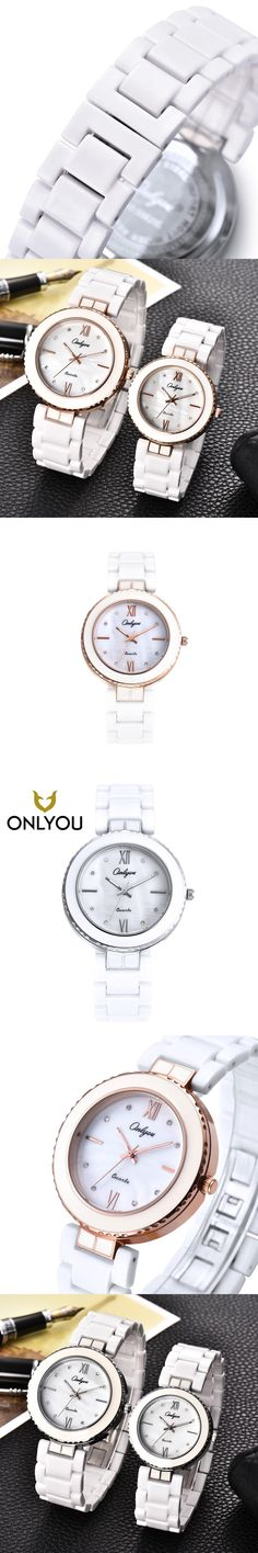 ONLYOU Women Watches Silver Fashion Ceramic Watch Girls Bracelet Watch Male Quartz Wristwatches Men Clock Female relojes mujer