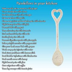 This is a list of some common foodstuff you will find in a normal kitchen for acting as a painkiller. Home remedies are the best! Health Tips, Health And Wellness, Health And Beauty, Health Fitness, Women's Health, Wellness Tips, Herbal Remedies, Health Remedies, Home Remedies