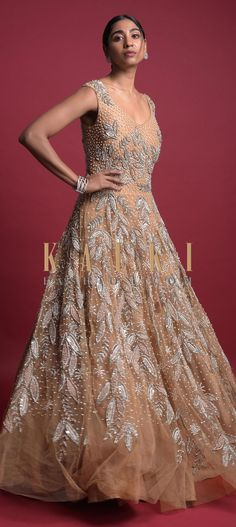 Wheat Gold Ball Gown In Net With Embroidered Leaf Motifs Online - Kalki Fashion Indowestern Gowns, Reception Gown, Embroidered Leaves, Wedding Function, Blouse Designs, Bridal Gowns, Ball Gowns, Outfit Ideas, Neckline