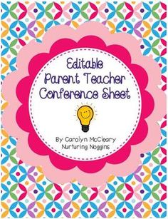 Editable Parent Teacher Conference Sheet