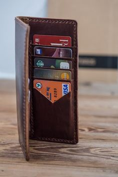 Leather Long Wallet, Dark Brown, Horween Dublin Leather, $114.00