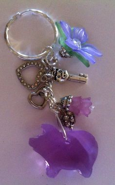 Keychain with a crystal purple pig pig key Lavendar by InHogHeaven