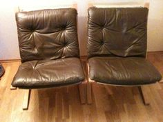Pair Vintage Siesta Chairs, c1960, designed by Ingmar Relling for Westnofa, Norway. Brown leather with Beach frame. 2000kr for the pair.