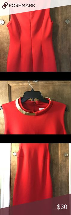 Calvin Klein red dress Calvin Klein Red dress with gold necklace collar Calvin Klein Dresses