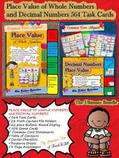 THE ULTIMATE 564 PLACE VALUE TASK CARD BUNDLE Whole and Decimal Numbers from TeachToTell on TeachersNotebook.com -  (322 pages)  - Make teaching and learning fun with this ultimate Place Value of Whole Numbers and Decimal Numbers 564 task cards pack.