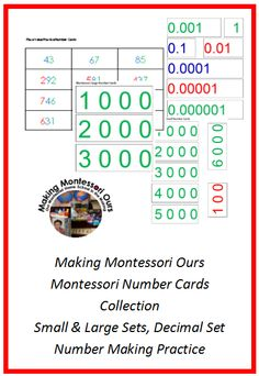 Making Montessori Ours Education Printables: Montessori Early Math Materials Printables - Number Card Package
