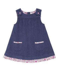 Look at this JoJo Maman Bébé China Blue Floral Corduroy Jumper - Infant, Toddler Kids Frocks, Frocks For Girls, Kids Outfits Girls, Little Dresses, Little Girl Dresses, Girl Outfits, Girls Dresses, Baby Dress Design, Baby Dress Patterns