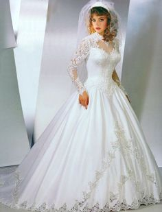 [This has a lot of features I think you'll like. Beautiful Wedding Gowns, Beautiful Dresses, Bridal Wedding Dresses, Bridal Style, Southern Belle Dress, Perfect Bride, Lace Dress With Sleeves, Marie, Ball Gowns