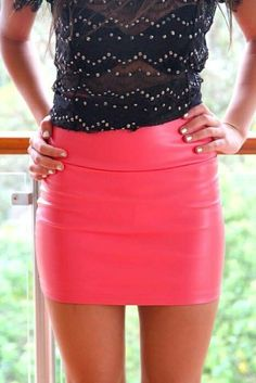 Leather skirts | Leather fashion | Pinterest | Leather, Skirts and ...