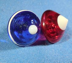 2 Red White & Blue Glass Charmstring Buttons. Cone Shape, No Chips, Has Bubbles