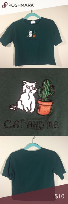 """""""cat and me"""" cactus shirt cute cat and me stitched cactus shirt! ive worn this about 2 times and just havent liked how its looked on me. material is comfy and stretchy. no size tag but fits like small/medium. feel free to comment with any questions! American Apparel Tops Crop Tops"""