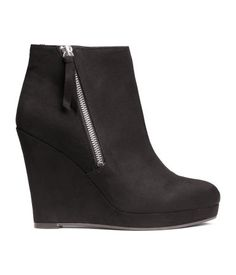 Ankle boots in imitation suede with a wedge heel, zip at side, and rubber soles. | H&M Shoes