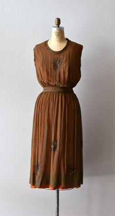 Cioccolata silk dress / silk 1920s dress / vintage by DearGolden, $234.00