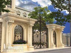 Front Gate Design, House Gate Design, Facade Design, Classic House Exterior, Classic House Design, Neoclassical Architecture, Classic Architecture, Interior Exterior, Exterior Design