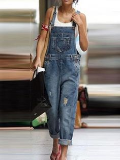 Jumpsuit With Sleeves, Pant Jumpsuit, Denim Fashion, Fashion Outfits, Style Fashion, Girl Fashion, Jumper Outfit Jumpsuits, Denim Jumper, Denim Outfit