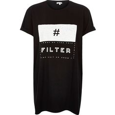 River Island Black textured print oversized t-shirt ($36) ❤ liked on Polyvore featuring tops, t-shirts, black, print t-shirts / tanks, t shirts / tanks / sweats, women, black crew neck tee, oversized black tee, oversized tee and pattern t shirts