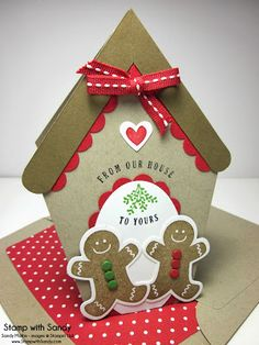 Stamp With Sandy: Gingerbread Christmas for The Paper Players   ---- scentsational season gingerbread men, oval dies in white and red, scallop border punch in red.