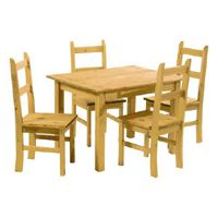 Mexican Table and Chairs (Corona Range)    Solid pine with a lightly distressed wax finish  150cm x 80cm Table  Four Chairs  The Mexican-style Corona Dining Suite has a lovely wax, pine finish. A dining table and chair set that gives your kitchen a country style finish.