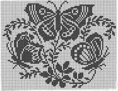 Butterfly Cross Stitch, Crochet Butterfly, Cross Stitch Heart, Funny Cross Stitch Patterns, Crochet Stitches Patterns, Cross Stitch Designs, Crochet Curtains, Tapestry Crochet, Crochet Doilies