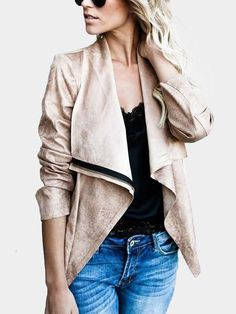 This jacket features lapel collar, suede fabric and zipper front design. Suede Jacket, Bomber Jacket, Leather Jacket, Suede Fabric, White Tees, High Waist Jeans, Put On, Sleeve Styles, Jackets For Women