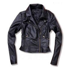 Black PU leather motorcycle jacket