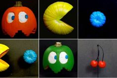 This is an easy one to do but it looks really cool. Just paint up your pumpkins to look like Pac-Man characters. A little creative cutting, some blacklight activated acrylic paint, a dowel to mount them on and you have an instant classic video game Halloween pumpkin. The cherries are made from crab apples and some wire and the pellets are small gourds. Crafty! Happy Halloween everyone!