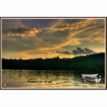 Geese with Boats Poster, Newfound Lake Hebron, NH | Zazzle